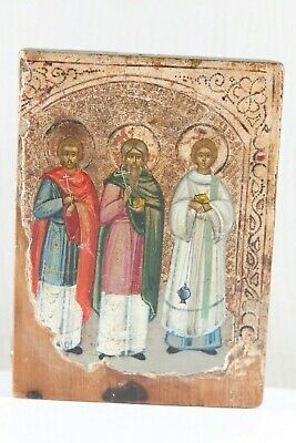 Russian icon three saints 19th century chromolithograph 100 %original