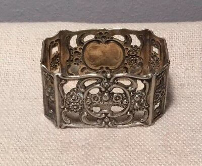 Antique German 800 Silver Ornate Floral Basket Pierced Napkin Ring