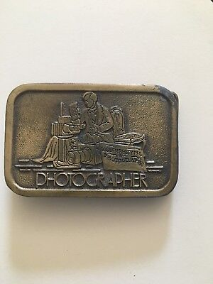 Brass Photograher Belt Buckle Photography Metal by Hit Line Man Working