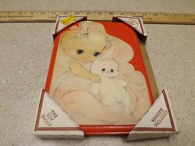 Vintage Big Eyed Baby & Bunny Decoupage Print Wood Wall Plaque Hanging Decor 5X8