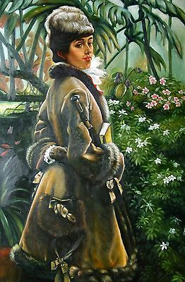 "James J . J . Tissot Replica Abstract Oil Painting - Dans la serre size 24""x36"""
