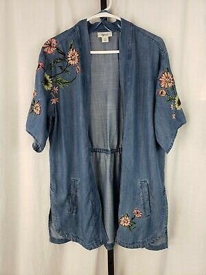 e5a8226c Style co Womens Chambray Embroidered Floral Open Front Blouse Shirt Top Sz M