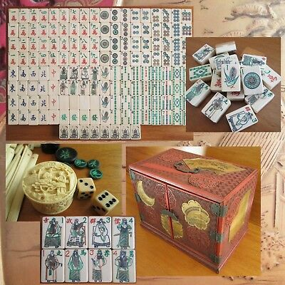 Vtg 1920s, 152 Tiles Thick Bone Bamboo Mahjong Set Red Cinnabar Box Mah Jongg