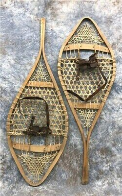 Pair Snowshoes Wood Framed Ski Lodge Cabin Decor Window Sport Snow Gear a