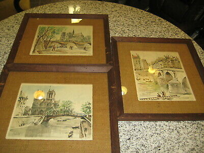 Set Of Three Vintage Paris Watercolor Prints Framed with Glass By Herbelot