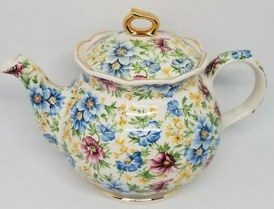 BEAUTIFUL Windsor CHELSEA CHINTZ SPRING BLUE Teapot MADE IN ENGLAND Vintage