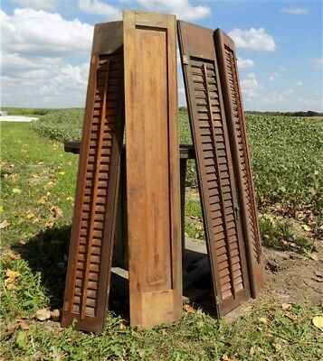 Wood Shutters Lot Victorian Window Louver Plantation Door Mission Vintage a45