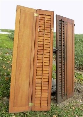 Wood Shutters Lot Victorian Window Louver Plantation Door Mission Vintage a46