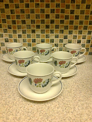 British Home Stores Bhs Priory Design 6 X Tea Cups & Saucers Floral
