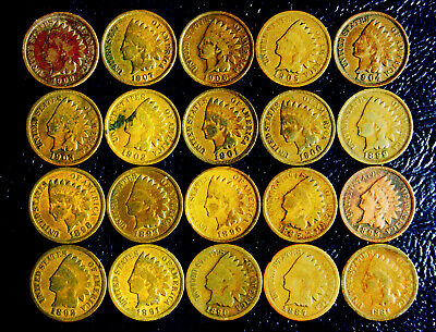 Set of Indian Cents - 20 Different Dates