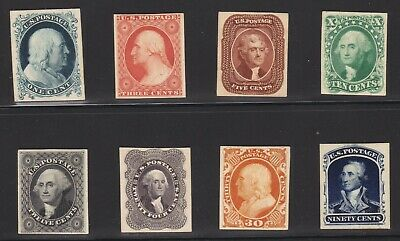 US 40P4-47P4 1857-1860 Issue Proofs on Card VF-XF SCV $580 (001)