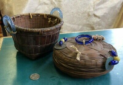 2 Vintage Chinese Baskets With Glass Loops & Beads