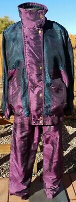 Medium Lavon Track Suit Leisure VTG 80s 90s Purple Blue Zip Lined Jacket Pants
