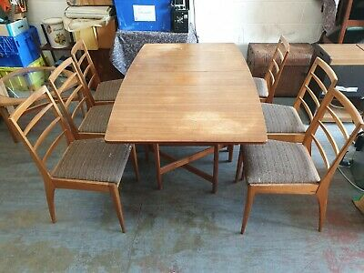 Vintage Retro McINTOSH 1970s Mid-Century Teak Drop Leaf Dining Table & 6x Chairs