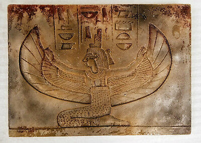 Ancient  Egyptian Winged Isis Wall Fragement Antique Finish Inventory Clearance