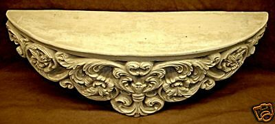 French Fleur De Lis Carved Shelf Antique Finish 22065