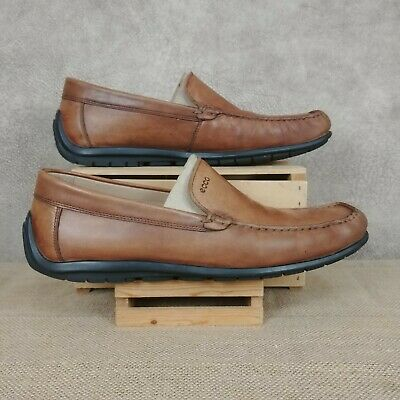 9bb985bdb16 Ecco Mens Tan Brown Leather Slip Driving Mocs Loafers Shoes Sz 46 US12-12.5