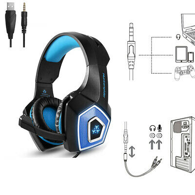 Hunterspider V1 Stereo Bass Gaming Headset for PS4 Slim Pro Xbox One PC Mic P6R6