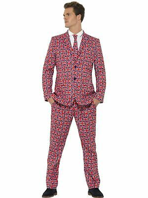 Adult Comedy Funny Union Jack Stand Out Suit Mens Fancy Dress Stag Party Costume