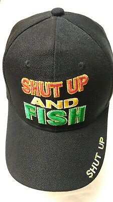 a7f961e773270 Shut Up and Fish Black Hat with Adjustable Strap