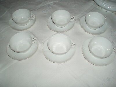 Antique Theo Haviland Limoges St Cloud 6 ALL White tea cups saucers Exceptional!