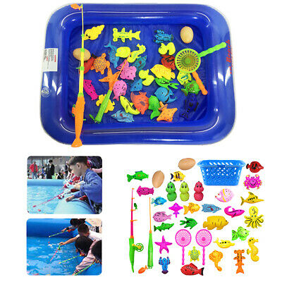 35Pcs Magnetic Fishing Toy Sets + Inflatable Pool Kid Children Baby Bath Time UK