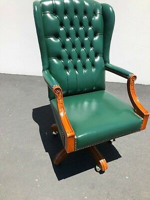 Vintage Partners Antique Leather Office Chair (Green)