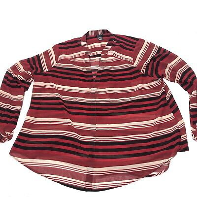 Women's Plus Size 2X Torrid 2 Red / Black Striped Vneck Sheer Blouse Top