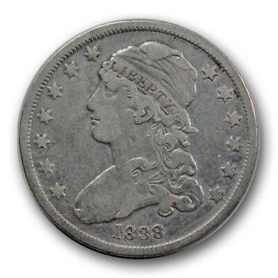 1838 25C Capped Bust Quarter Very Fine to Extra Fine Cleaned R1233
