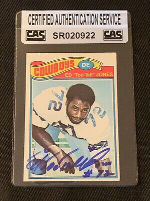 """Ed """"Too Tall"""" Jones 1977 Topps Signed Autographed Card 314 Cowboys Cas Authentic"""