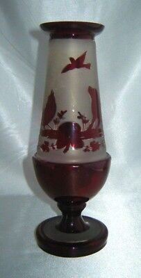 Antique BOHEMIAN CZECH Ruby Red Frosted Glass Footed VASE w/ Birds, Flowers, Dog