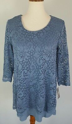9a38e442bc1 $54 JM Collection Women's Size Small Blue Lace Overlay 3/4 Sleeve Tunic Top  NEW