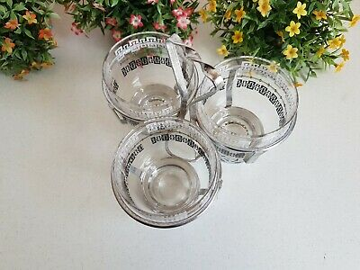Vintage Lot of Glass Tumbler Drinking Cup Glasses Mid Century in Silver Carrier