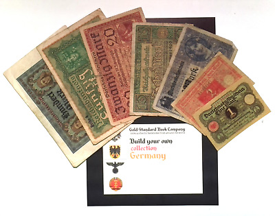1917 -20  Germany Weimar Republic Full Set 1 to 100 Mark Banknotes