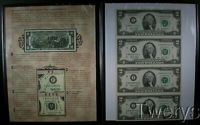 1 Four Piece 2003 Uncut $2 Uncut Sheet Housed In A Us Commem Gallery Binder