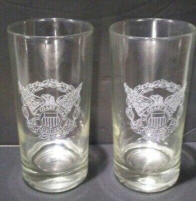 Vintage Set Of 2 US Coast Guard Auxiliary Clear 12 Oz. Comemerative Glasses