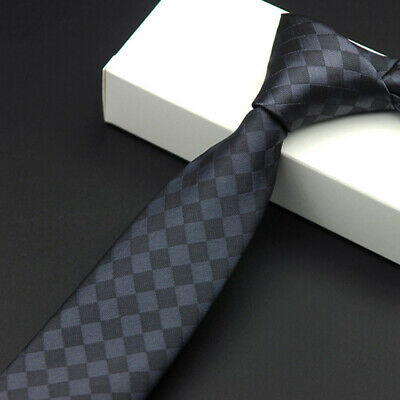 #3 Skinny Tie Jacquard Woven Slim Men's Necktie Wedding Hot Silk Plain