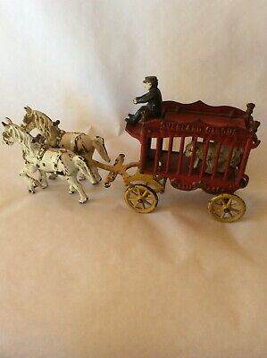 ANTIQUE CAST IRON TOY HORSE-DRAWN CIRCUS WAGON: OVERLAND CIRCUS : LATE 1800's