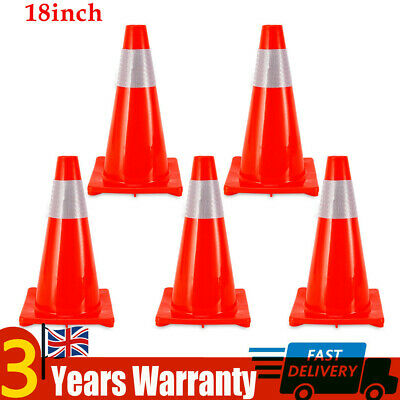 5×18''(450mm) Safety Traffic Cones Road Fluorescent Red Reflective Collar UK