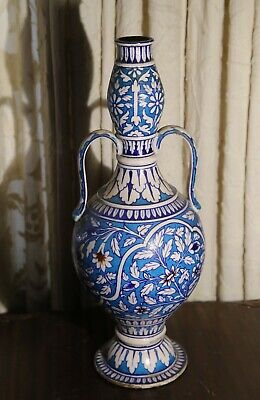Antique Large Islamic Double Gourd Handled Iznik Persian Vase 20""
