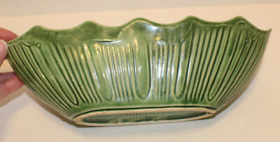 "Vintage Greeen Striped McCoy Oblong Oval 11"" Long X 3 3/4"" Across  Planter"