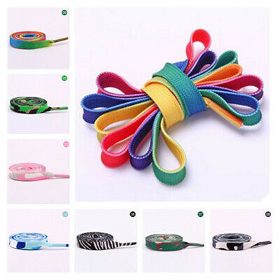 5Pairs Colorful Coloured Shoelaces Flat Round Bootlace Sneaker Shoe Laces