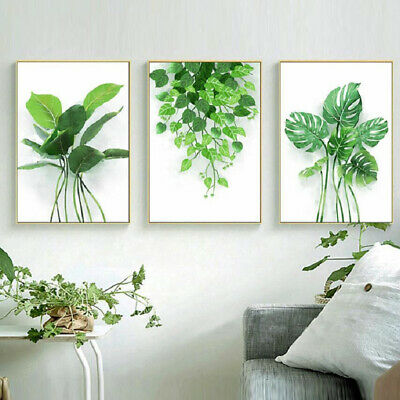 Tropical Watercolor Plants Leaf Nonwoven Poster Wall Art Prints Home Decoration