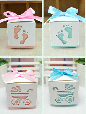 20pcs Laser Cut Candy Boxes Carriage Baby Foot Shower Table Decor Favor Gifts