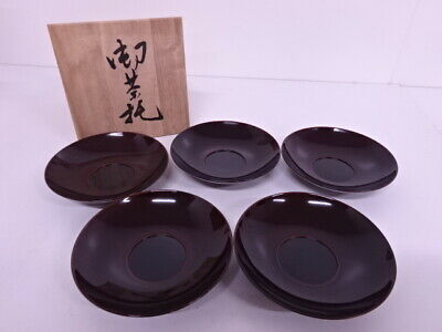 4099806: Japanese Tea Ceremony / Tame-Nuri Lacquered Saucer Set Of 5