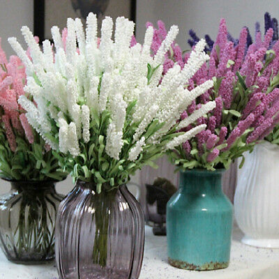 12 Heads Artificial Lavender Flower Leaves Bouquet Home Wedding Garden Decor MD