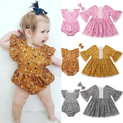 b4931f844f81 Little Big Sister Matching Clothes Kid Baby Girl Floral Romper Dress  Outfits Set