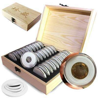 Wooden Coins Storage Container Collection Box Case + 30 Round Capsules Holder