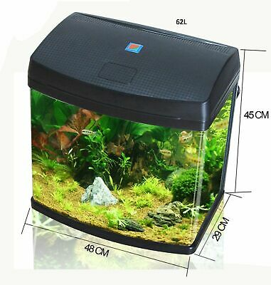 10% OFF 62L Aquarium Fish Glass Tank Fresh Water LED Light Filter Black BXA48