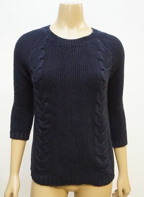 b62bd2443f3bc6 Cynthia Rowley Women's L Crew Neck Back Button Cable Knit Cardigan Sweater  Blue